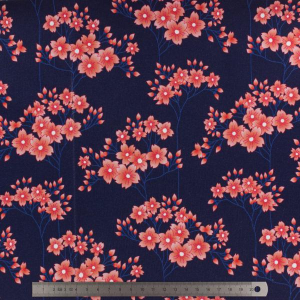 Tissu-JERSEY-ALB-Stoffe-Sakura-hana-fond bleu